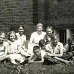 Bible School students, Knoxville Mennonite Mission, Tenn., with Gladys Baer, late 1940s (Conrad Baer photo)