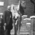 J. Irvin Lehman (left) with Russell Baer at Knoxville Mennonite Mission, Tenn., late 1940s (Conrad Baer photo)