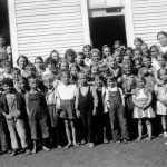 Summer Bible School, VMBM missions, Horton, W.Va., about 1940, with Mary Kratz teacher (back third from right) (Paul Kratz photo)