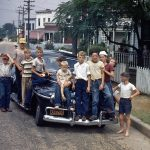 Richmond, Va., children during Tent Meetings, June, 1948, with Roy Kreider's car (Eugene Souder photo)