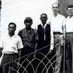 Jamaica Executive Committee, 1965, Ransford Nicholson, Eric Robinson, Simeon Walters, Kenneth Brunk, and Willard Heatwole (VMC Archives)