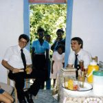 Haiti, with Stanley Shirk (left) and Sam Scaggs, VMM missions staff, 1985 VMM (VMC Archives)