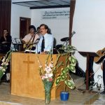 Ken Horst preached at Centro Agape church baptism, Sicily, Italy, 1989 (VMC Archives)