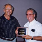 Richard Lantz (right) award for missions service, from Marvin Slabaugh (VMC Archives)
