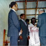 Robert Henry (second from left) receives ordination from Willard Heatwole, Jamaica (VMC Archives)