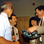 VMBM Board meeting with Galen Lehman (left), Gerald Miller, Earlene and Loren Horst, 1997 (VMM Archives)