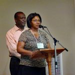 Mr. and Mrs. William Broughton, pastoral couple from Jamaica, spoke to Virginia Mennonite Conference delegates, 2012, at EMU (Elwood Yoder photo)