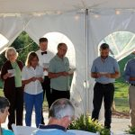 VMM Staff read a commissioning for new mission workers July 18, 2018, Harrisonburg (Yoder photo)