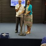 Dillion and Esther Sinclair, from Jamaica, spoke to Virginia Mennonite Conference Assembly, July 21, 2018 (Elwood Yoder photo)